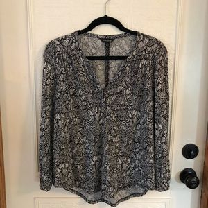 Lucky Brand Black And White Print Blouse